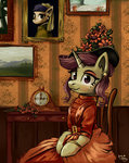 absurdres amy-gamy chair clock clothes dress flowers hat highres original_character painting