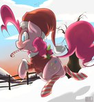 candy christmas coat hat highres mcnims pinkie_pie santa_hat snow socks winter