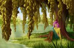 absurdres bird fluttershy grennadder highres humanized tree water willow