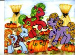 applejack_(g3) apples autumn autumn_crisp autumn_skye g3 highres pumpkin scarf skypinpony traditional_art