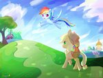 absurdres applejack apples basket bronyazaychbronyazaych flying highres rainbow_dash trees