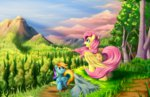 cloud fluttershy grass grennadder mountain rainbow_dash tree