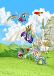 airshipping dirigible dress fluttershy goggles jackjacko-eponymous rainbow_dash scenery spike steampunk twilight_sparkle