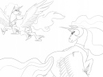 biscuits highres lineart nightmare_moon princess_celestia