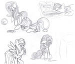 applejack artist_unknown computer fluttershy how_do_you_type_with_hooves pinkie_pie rainbow_dash sketch twilight_sparkle