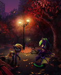 absurdres autumn bat_pony bench highres inowiseei leaves original_character park scarf streetlight trees