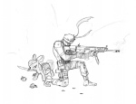 apple_bloom crossover grenade gun knife lineart metal_gear_solid rifle solid_snake weapon zombieme