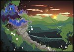 butterfly ddye088 flowers highres moon princess_luna scenery sun sunset