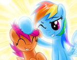 highres noogie rainbow_dash scootaffection scootaloo verulence