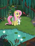 angel bird flowers fluttershy highres lavendus pond reflection trees