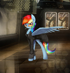 adam_jensen cigarette coat deus_ex glasses mixed_resolution rainbow_dash sunglasses wreky