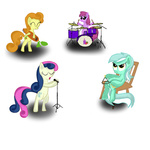 background_ponies band berry_punch bipedal drums golden_harvest guitar i_shall_not_use_my_hooves_as_hands lyra_heartstrings microphone roper sweetie_drops triangle