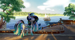 bat_pony boat highres holivi original_character tree water