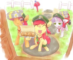 apple_bloom cutie_mark_crusaders derpy_hooves i_shall_not_use_my_hooves_as_hands muffin rigi scootaloo sweetie_belle uniform wagon