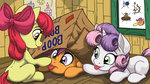 apple_bloom boop box clubhouse cutie_mark_crusaders highres latecustomer scootaloo sweetie_belle tongue