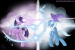 contrast fight horn_laser magic magic_overload pooryorick the_great_and_powerful_trixie twilight_sparkle violence