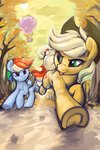 absurdres applejack autumn balloon dimfann highres pinkie_pie rainbow_dash rope running running_of_the_leaves spike trees twilight_sparkle
