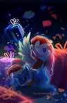 aquagalaxy christmas hat highres present princess_celestia princess_luna santa_hat young