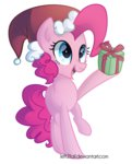 hat highres left2fail pinkie_pie santa_hat