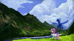 cyonixcymatro filly highres princess_celestia princess_luna scenery