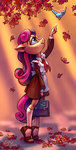 anthro autumn bird highres holivi leaves sweetie_drops