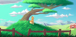absurdres applejack big_macintosh highres silverhopexiii sweet_apple_acres tree