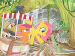 alligator daring-do fluttershy foxxy-arts scootaloo time_turner