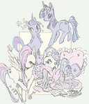 book bookmark fluttershy highres pillow rarity robe sketch sofiasketch teacup twilight_sparkle