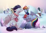 applejack badday28 highres rainbow_dash rarity scarf shipping snow snowman soarin