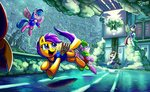 absurdres blossomforth buckball firefly g1 highres jowybean rumble scootaloo