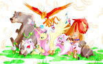 alicorn bear bird breezie chicken chipmunk dog duck ferret fluttershy highres manticore mouse original_character parasprite phoenix phoenixperegrine pig rabbit seabreeze seal sheep snake squirrel