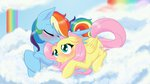 cloud flutterdash fluttershy highres naomiknight17 rainbow_dash shipping