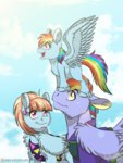 bow_hothoof filly highres inuhoshi-to-darkpen rainbow_dash windy_whistles