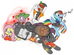 0r0chi angel cap crossover dog_tag flamethrower fluttershy gun heavy machinegun medic pinkie_pie pyro rainbow_dash rifle scout shotgun soldier spike team_fortress_2 weapon