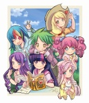 angel anime anime_as_fuck applejack book border dress fluttershy humanized main_six pinkie_pie quill rainbow_dash rarity spike twilight_sparkle waiwaiwai writing