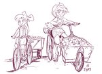 apple_bloom applejack apples bicycle equestria_girls humanized jowybean sketch