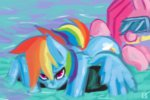 fauxsquared highres inner_tube pinkie_pie rainbow_dash snorkel swimming