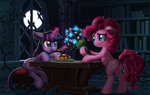 book flowers harwick highres magic moon nighttime pinkie_pie shipping twilight_sparkle twipie