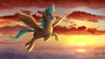 background_ponies cloud flying highres magfen sunshower_raindrops