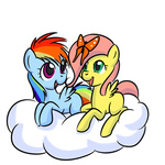 butterfly filly fluttershy kloudmutt rainbow_dash