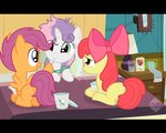 apple_bloom bed black_bars card cutie_mark_crusaders facelessjr highres ice_cream scarf scootaloo sick sweetie_belle