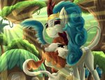 autumn_blaze billblok highres hugs kirin rain_shine trees