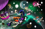 applejack balloon derpy_hooves fluttershy hereticofdune highres main_six net pinkie_pie princess_luna rainbow_dash rarity rope space space_suit spike tardis time_turner twilight_sparkle