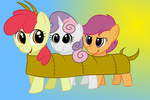 apple_bloom artist_unknown centipede cutie_mark_crusaders scootaloo sweetie_belle