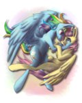 ebonytails flutterdash fluttershy highres rainbow_dash shipping