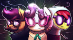 apple_bloom coat cutie_mark_crusaders fshydale glasses hat mustache scootaloo sunglasses sweetie_belle