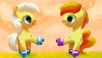 background_ponies peachy_pie reuniclus rollerskates sunny_daze