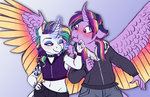 anthro blushing earthsong9405 jacket punk_rarity rarilight raritwi rarity shipping tattoo twilight_sparkle