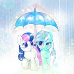highres kuroge lyra_heartstrings magic rain sweetie_drops umbrella