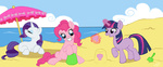 beach bucket miss-straydoll pinkie_pie rarity sand_castle twilight_sparkle umbrella